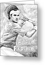 Roger Federer Art Drawing Sketch Portrait Greeting Card by Kim Wang