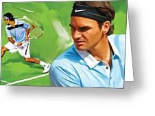 Roger Federer Artwork Greeting Card by Sheraz A