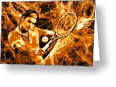 Roger Federer Clay Greeting Card by RochVanh