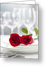 Romantic Dinner Setting Greeting Card by Elena Elisseeva
