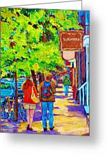 Romantic Stroll Along Rue Laurier Montreal Street Scenes Paintings Carole Spandau Greeting Card by Carole Spandau