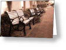 Romantic Surreal Park Bench Pink Sepia Tones Greeting Card by Kathy Fornal
