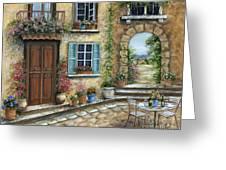 Romantic Tuscan Courtyard Greeting Card by Marilyn Dunlap