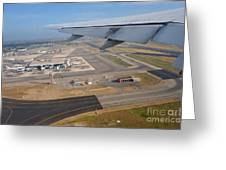 Rome airport from an aircraft Greeting Card by Sami Sarkis