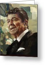 Ronald Reagan Portrait 5 Greeting Card by Corporate Art Task Force