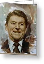 Ronald Reagan Portrait Greeting Card by Corporate Art Task Force