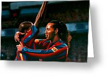 Ronaldinho And Eto'o Greeting Card by Paul Meijering