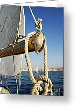 Rope On Sailboat Mast During Navigation Greeting Card by Sami Sarkis