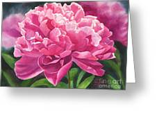 Rose Colored Peony Blossom Greeting Card by Sharon Freeman