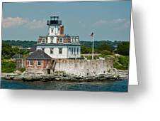 Rose Island Lighthouse Greeting Card by Nancy  de Flon