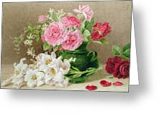 Roses And Lilies Greeting Card by Mary Elizabeth Duffield