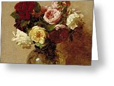 Roses Greeting Card by Ignace Henri Jean Fantin-Latour
