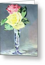 Roses In A Champagne Glass Greeting Card by Edouard Manet