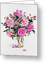 Roses In A Glass Jar  Greeting Card by Christopher Ryland