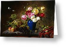 Roses in a Vase Peaches Nuts and a Melon on a Marbled Ledge Greeting Card by Olaf August Hermansen