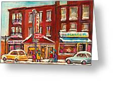 Rotisserie Le Chalet Bar B Q Sherbrooke West Montreal Winter City Scene Greeting Card by Carole Spandau
