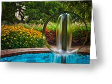 Round Water Sculpture Prescott Park Garden  Greeting Card by Jeff Sinon