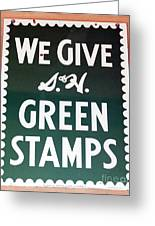 Route 66 Odell Il Gas Station Green Stamps Signage Greeting Card by Thomas Woolworth