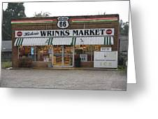 Route 66 - Wrink's Market Greeting Card by Frank Romeo