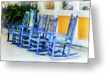 Row Of Blue Rocking Chairs Greeting Card by Susan Savad