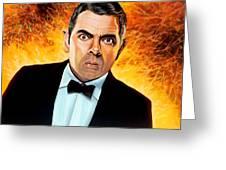 Rowan Atkinson alias Johnny English Greeting Card by Paul  Meijering