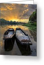 Rowboats On The River Greeting Card by Debra and Dave Vanderlaan