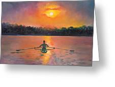 Rowing Away Greeting Card by Eve  Wheeler