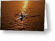 Rowing Into The Sunset Greeting Card by Bill Cannon