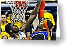 Roy Hibbert vs Carmelo Anthony Greeting Card by Florian Rodarte