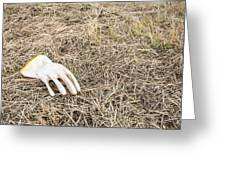 Rubber Glove In The Field Greeting Card by Ruud Morijn