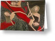 Ruby Red Satin And Thread Greeting Card by Denise Daffara
