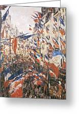 Rue Montorgeuil Decked With Flags Greeting Card by Claude Monet
