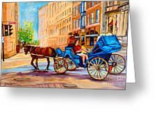 Rue Notre Dame Caleche Ride Greeting Card by Carole Spandau