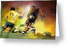 Rugby 01 Greeting Card by Miki De Goodaboom