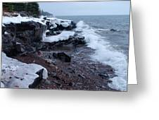 Rugged Shore Winter Greeting Card by James Peterson