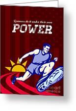 Runner Running Power Poster Greeting Card by Aloysius Patrimonio