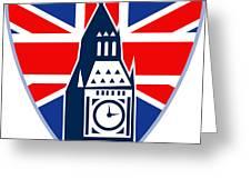 Runner Sprinter Start British Flag Shield Greeting Card by Aloysius Patrimonio