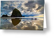 Running Free - Dogs Running in beautiful Cannon Beach. Greeting Card by Jamie Pham