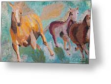 Running Horses Greeting Card by Vicky Tarcau