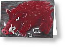 Running Razorback Greeting Card by Mona Elliott
