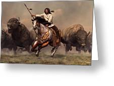 Running With Buffalo Greeting Card by Daniel Eskridge