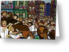 Running With The Bulls 1 Greeting Card by Karen Elzinga