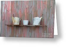 Rustic Garden Shelf Greeting Card by Ann Horn