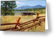 Rustic Wagon Greeting Card by Marty Koch