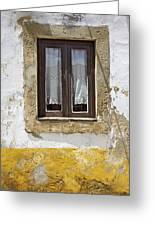 Rustic Window Of Medieval Obidos Greeting Card by David Letts