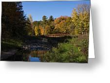 Rusty Little Bridge Complimenting The Fall Colors Greeting Card by Georgia Mizuleva