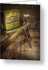 Rusty Nail And Hammer Greeting Card by Ian Barber