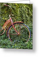Rusty Wheel Greeting Card by Debra and Dave Vanderlaan