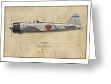 Saburo Sakai A6M Zero - Map Background Greeting Card by Craig Tinder