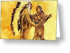 Sacagawea Greeting Her Brother Greeting Card by Matthew Frey